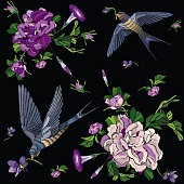 Embroidered seamless floral pattern of the traditional Japanese style.