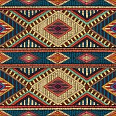 Embroidered seamless geometric pattern. Ethnic and tribal motifs.