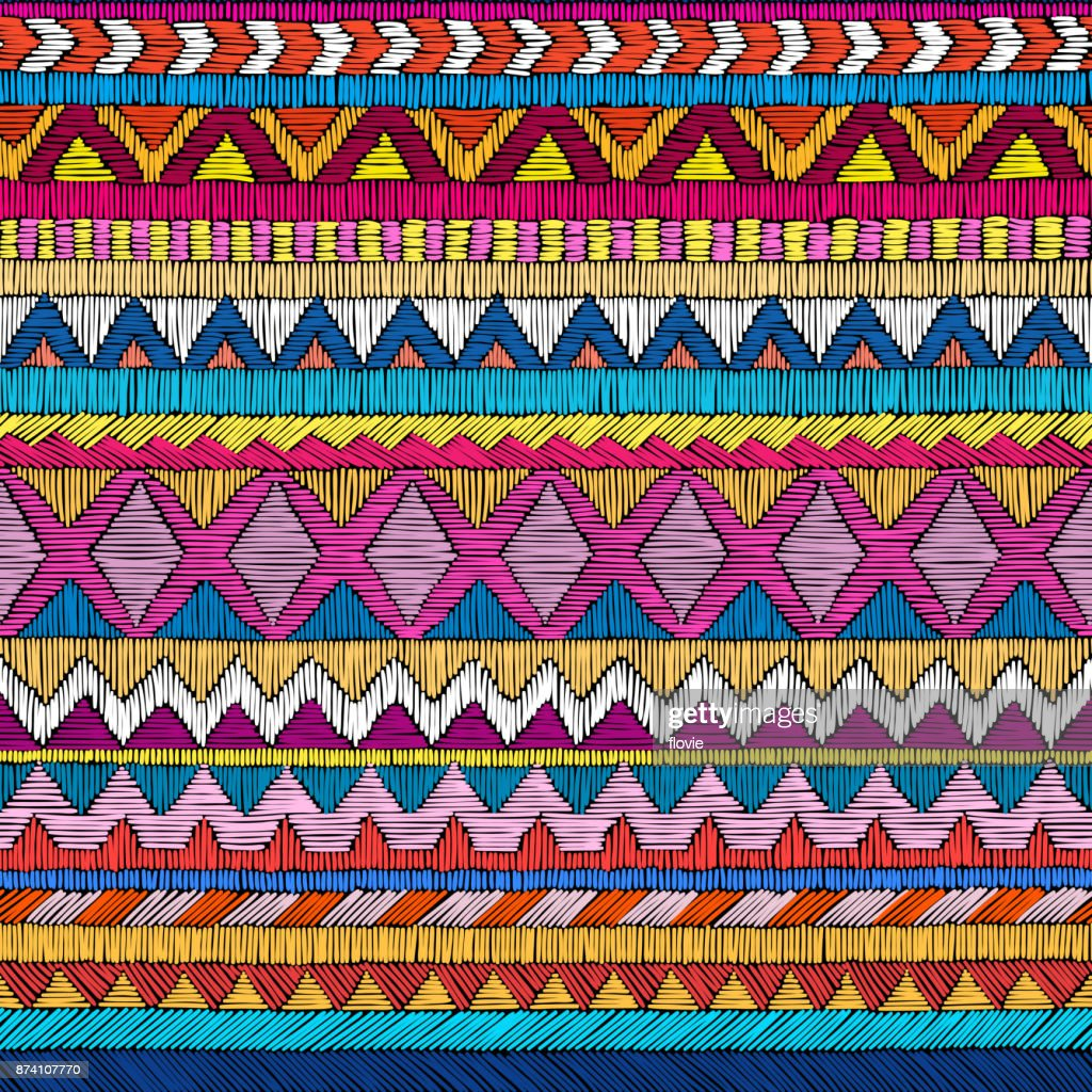 Embroidered seamless geometric pattern.