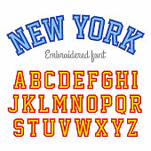 Embroidered sport style font