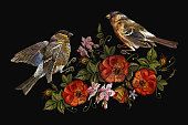 Embroidery birds and flowers vector. Classical embroidery bullfinch and titmouse, vintage buds of wild roses. Spring fashion art, template for design of clothes, t-shirt art