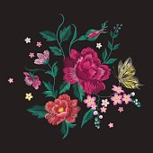 Embroidery brigth trend floral pattern with butterfly.
