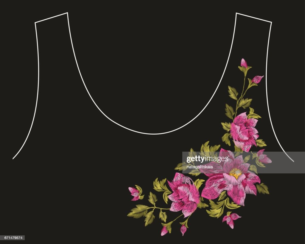 Embroidery colorful asymmetrical floral pattern with dog roses.