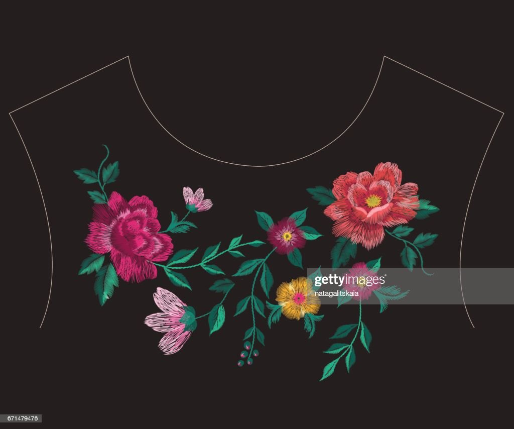Embroidery colorful ethnic neck line floral pattern with big roses.