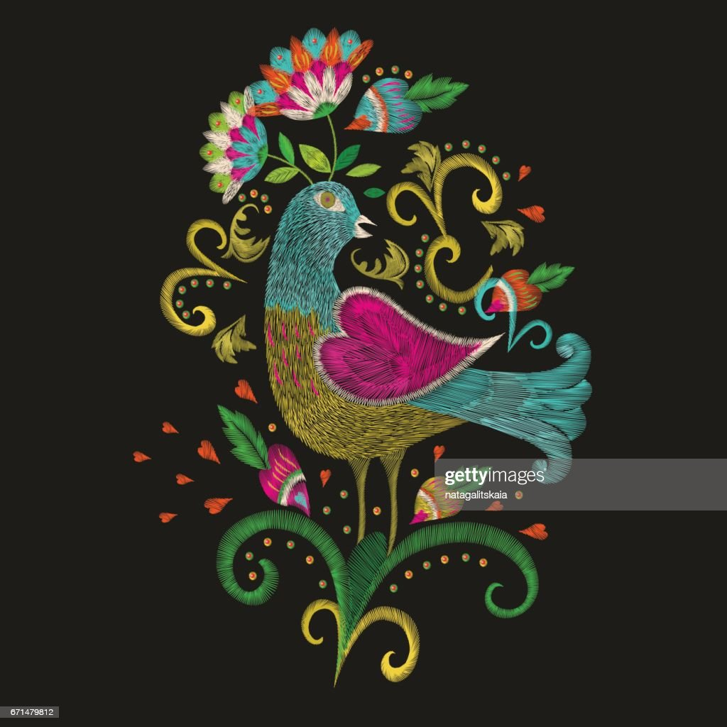 Embroidery colorful ethnic pattern in traditional folk bird with flower.