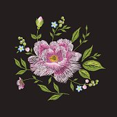 Embroidery colorful floral pattern with rose.
