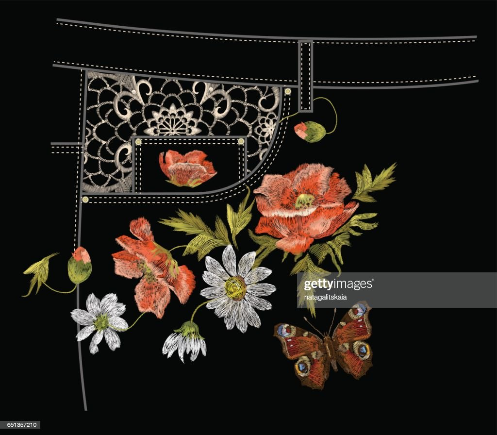 Embroidery colorful jeans botanical pattern with poppy and daisy flowers.