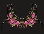 Embroidery colorful neck line floral pattern with dog roses.