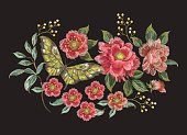 Embroidery colorful trend floral pattern with butterfly.