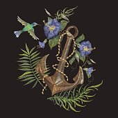 Embroidery exotic flowers and anchor pattern with hummingbird.