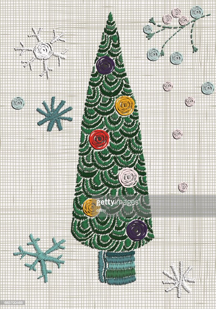 embroidery fancy christmas tree and snowflakes doodle style vector embroidery home decor vector - Fancy Christmas Tree