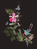 Embroidery fashion pattern with hummingbird, orchids and butterfly.