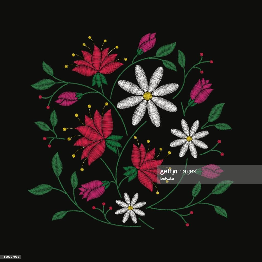Embroidery Floral Pattern With Bouquet Of Pink Red And White Flowers