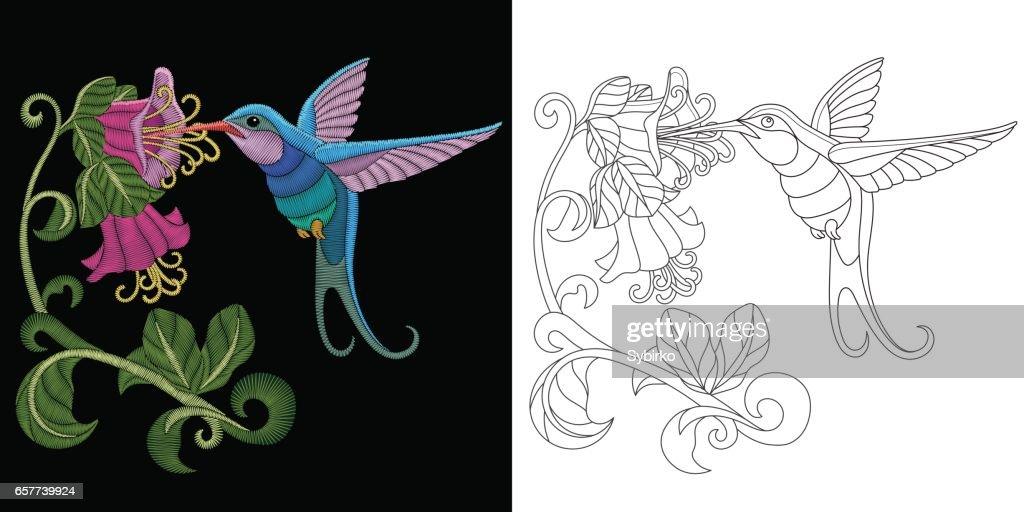 embroidery hummingbird design