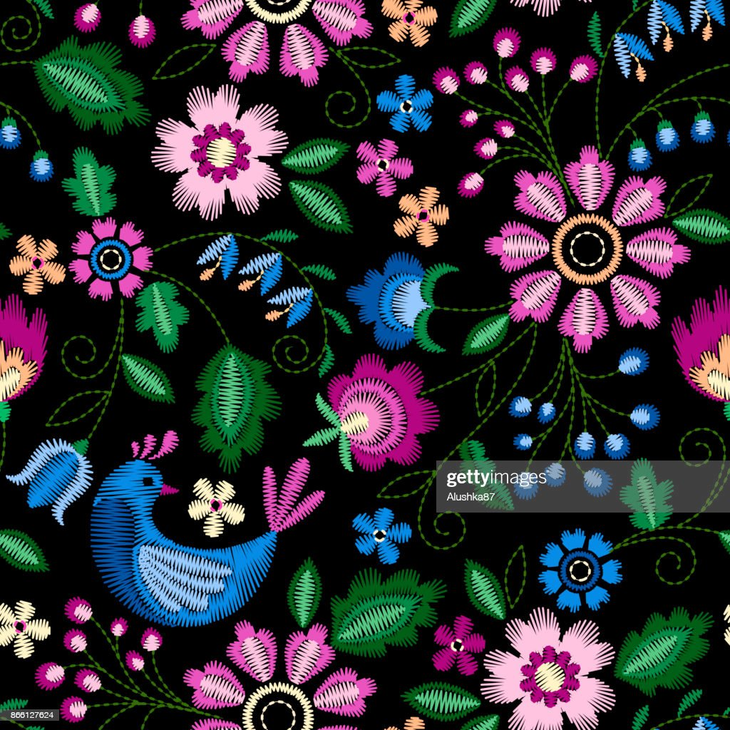 Embroidery seamless pattern with birds and beautiful flowers. Vector embroidery for fashion textile and fabric.