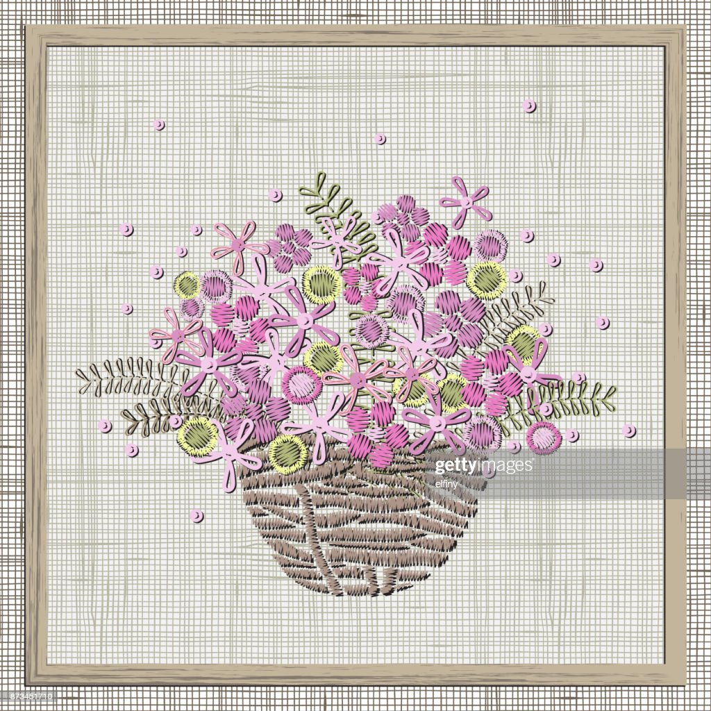 Embroidery Small Pink Flowers In Basket Vector Embroidery Design