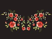 Embroidery traditional folk neck line pattern with red roses.