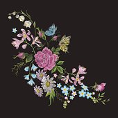 Embroidery trend floral pattern with butterfly.