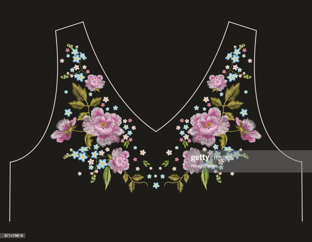 Embroidery trend neck line floral pattern with roses.