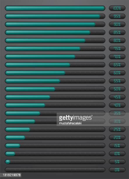 パーセンテージインジケータ付きエメラルド色のローディングバー - 荷積み場点のイラスト素材/クリップアート素材/マンガ素材/アイコン素材