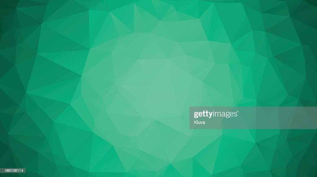 Emerald green abstract polygonal geometric background. Low poly.