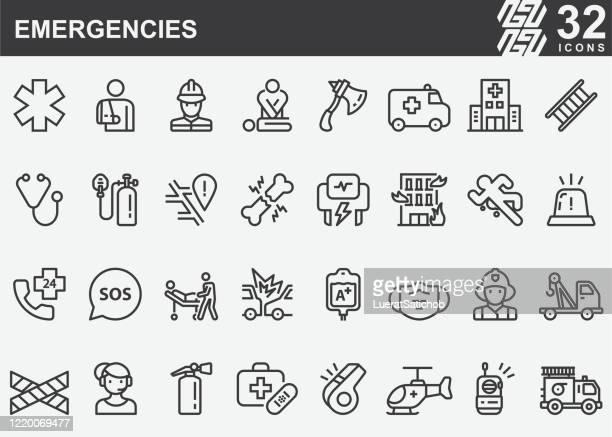 緊急ラインアイコン - 医療診断機器点のイラスト素材/クリップアート素材/マンガ素材/アイコン素材