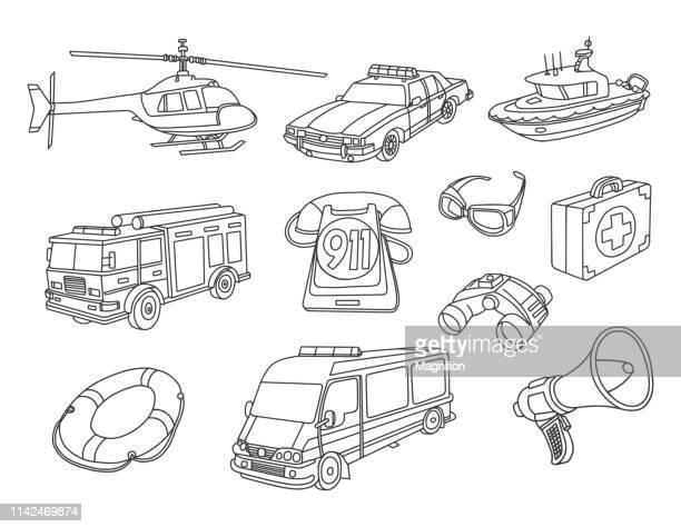 emergency 911 doodles set - ambulance stock illustrations