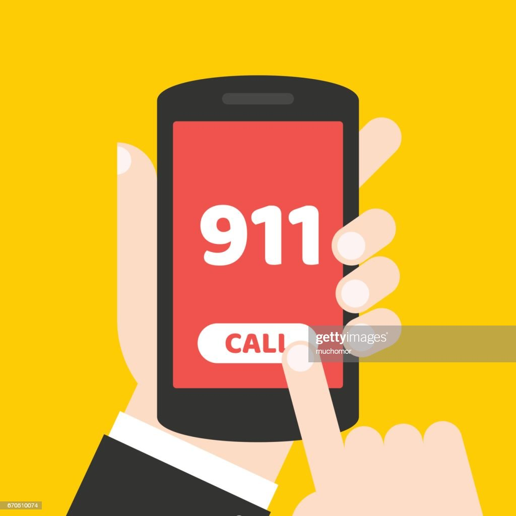 Emergency call 911 concept. Hand holding mobile phone with emergency number on the screen.