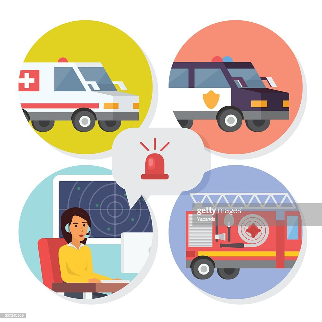 Emergency call center online support. Phone operator for ambulance, fire