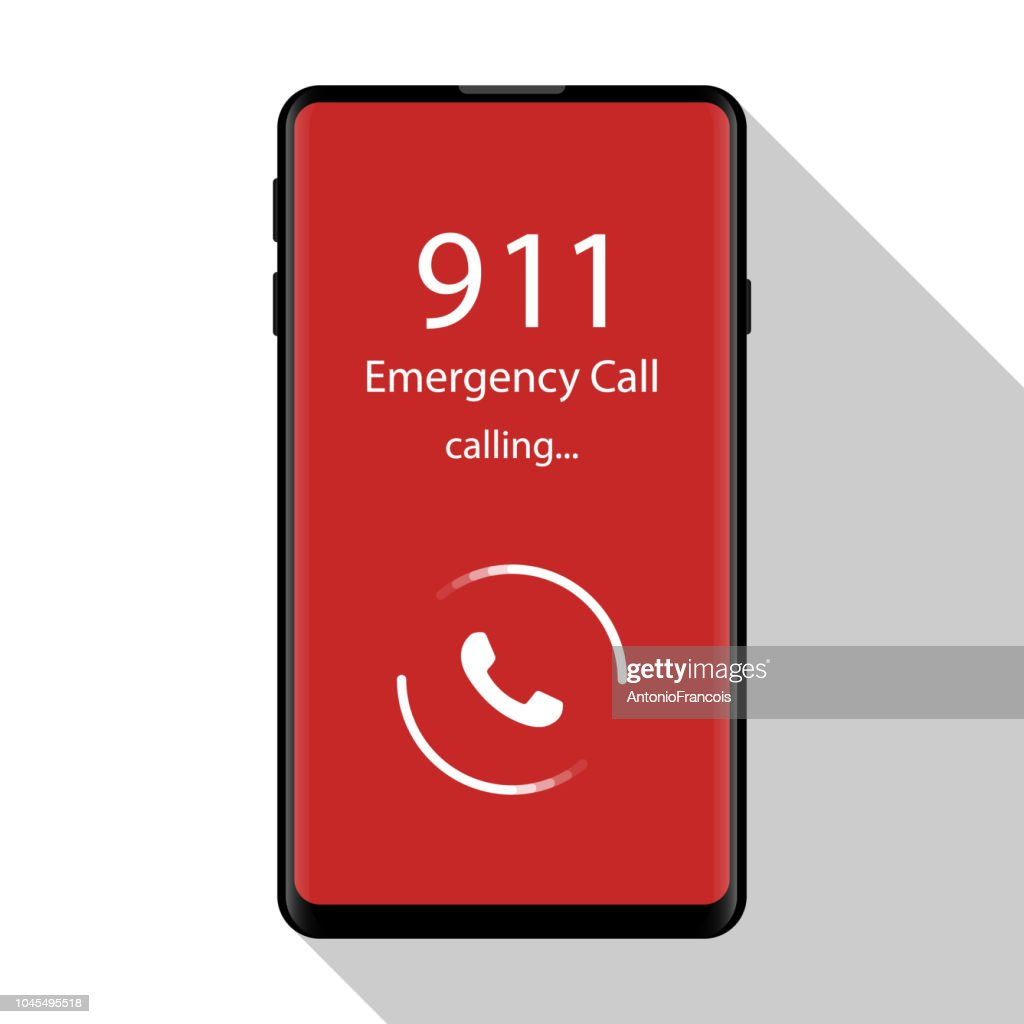 Emergency call, 911, police, ambulance, fire department, call, phone Flat design, vector illustration