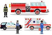 Emergency concept. Detailed illustration of female firefighter, doctor, policeman with fire truck, ambulance and police car in flat style on white background. Vector illustration.