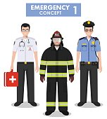 Emergency concept. Detailed illustration of firefighter, doctor and policeman in flat style on white background. Vector illustration.