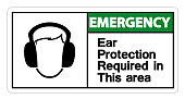 Emergency Ear Protection Required In This Area Symbol Sign on white background,Vector Illustration