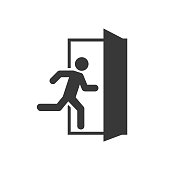 Emergency exit left , Emergency exit right , escape route signs , vector illustration