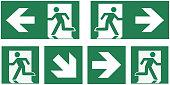 emergency exit sign set - pictogram vector illustration   -