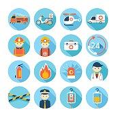 Emergency Flat Icons Set