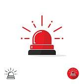 Emergency icon, ambulance siren light, police car flasher, red logo