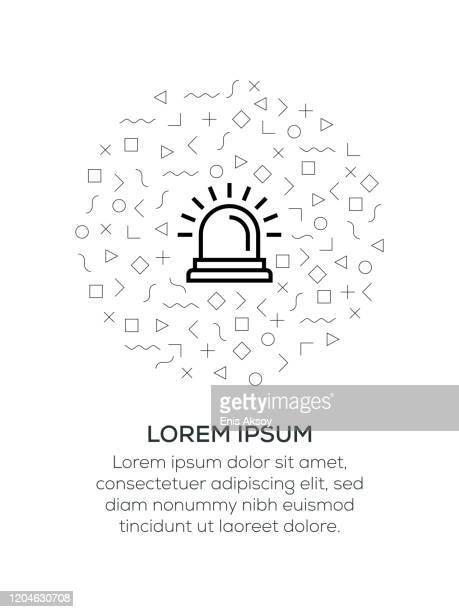 幾何学的形状で配置された緊急アイコン - 警報機点のイラスト素材/クリップアート素材/マンガ素材/アイコン素材
