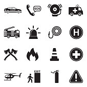 Emergency Icons. Black Flat Design. Vector Illustration.