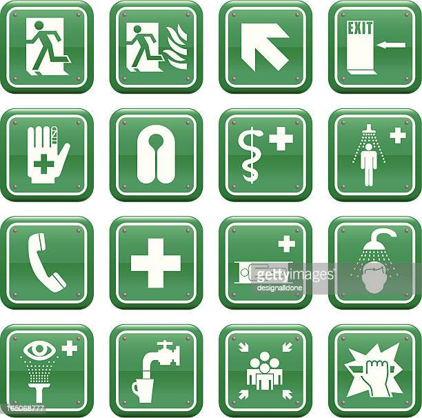 emergency medical & safety signs - occupational safety and health stock illustrations, clip art, cartoons, & icons