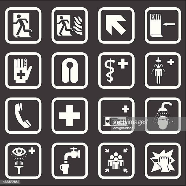 ilustraciones, imágenes clip art, dibujos animados e iconos de stock de médicos de emergencia & señales de seguridad (blanco serie - ducha