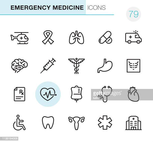 emergency medicine - pixel perfect icons - aids awareness ribbon stock illustrations