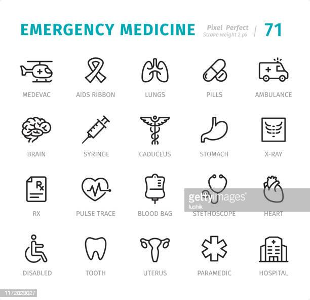 emergency medicine - pixel perfect line icons with captions - assistive technology stock illustrations, clip art, cartoons, & icons