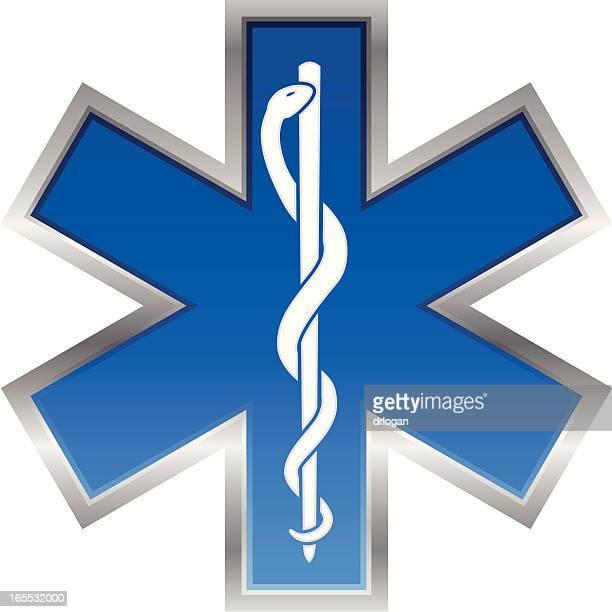 ilustrações, clipart, desenhos animados e ícones de medicina de emergência símbolo estrela de vida - símbolo médico