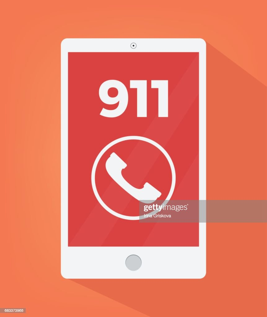 Emergency number 911 on smart phone screen icon