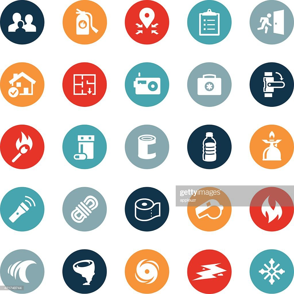 Emergency Preparation Icons : stock illustration