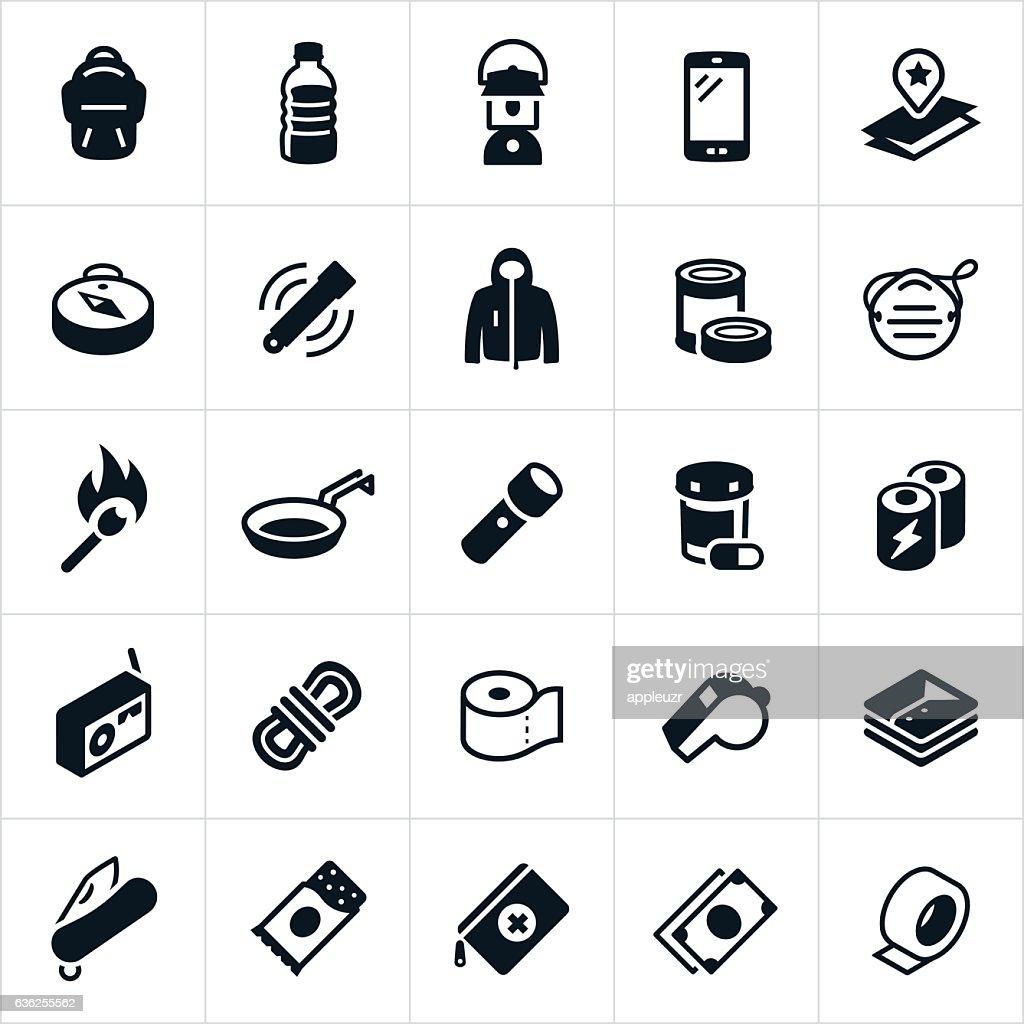 Emergency Preparedness Supplies Icons : stock illustration