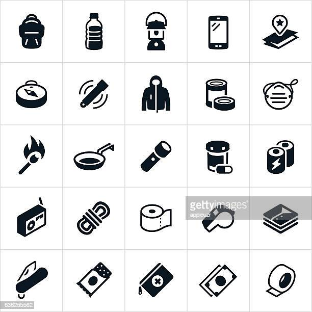 emergency preparedness supplies icons - survival stock illustrations