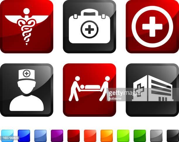 ilustraciones, imágenes clip art, dibujos animados e iconos de stock de sala de emergencias sin royalties de vector icon set pegatinas - enfermera