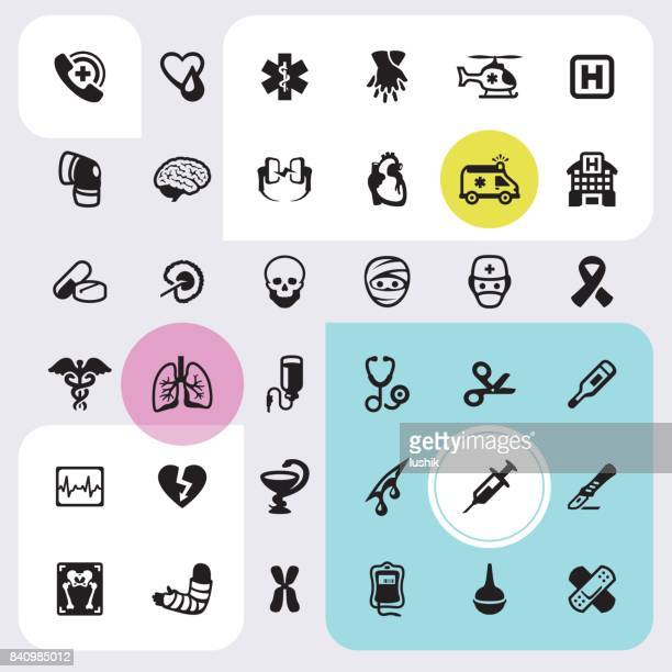 Emergency Services and Clinic - icons set
